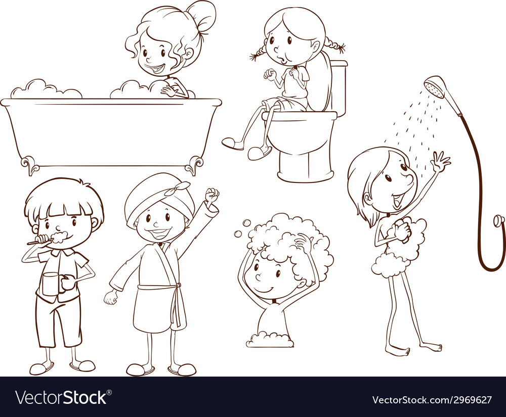 Simple sketches of the people taking a bath vector | Price: 1 Credit (USD $1)