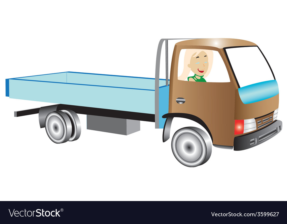 Truck with woman vector | Price: 1 Credit (USD $1)
