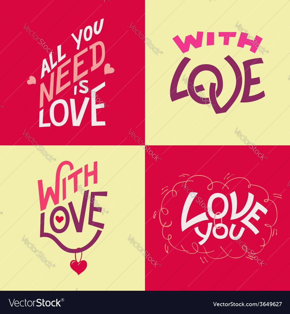 Valentines day hand-lettering cards vector | Price: 1 Credit (USD $1)