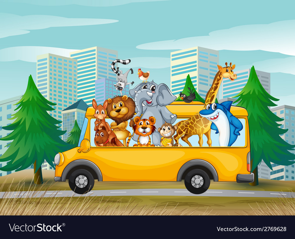 Animals on school bus vector | Price: 1 Credit (USD $1)