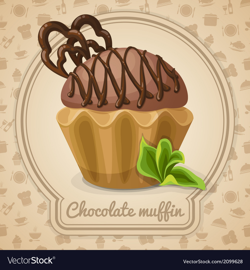 Chocolate muffin poster vector | Price: 1 Credit (USD $1)