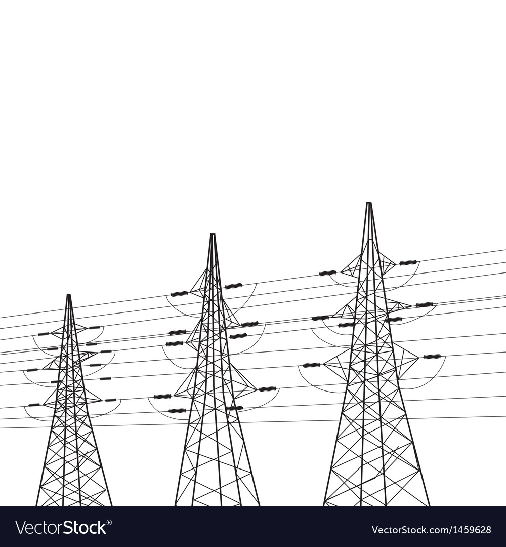Electricity pole over white vector | Price: 1 Credit (USD $1)