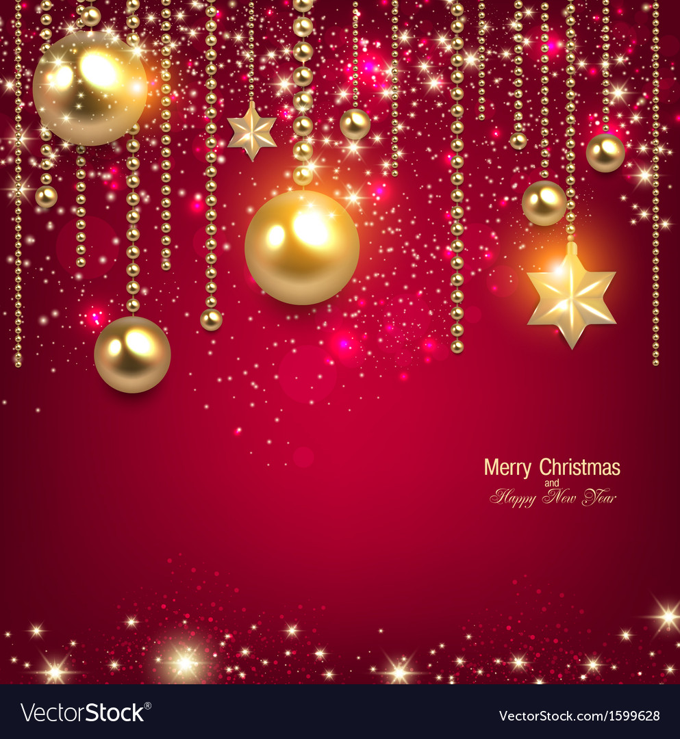Elegant christmas background with golden baubles vector | Price: 1 Credit (USD $1)