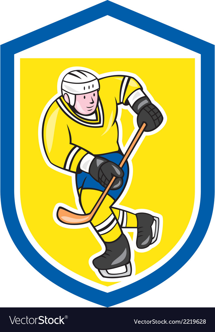 Ice hockey player with stick shield cartoon vector | Price: 1 Credit (USD $1)