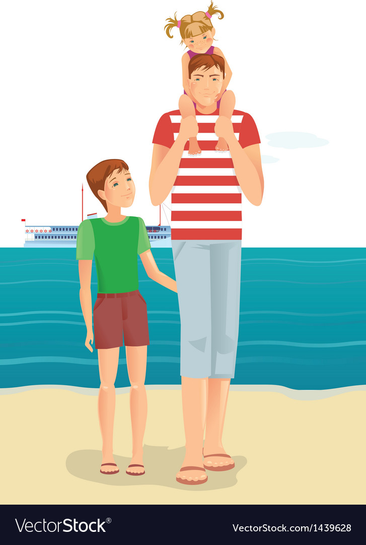 Man with little girl and boy vector   Price: 3 Credit (USD $3)