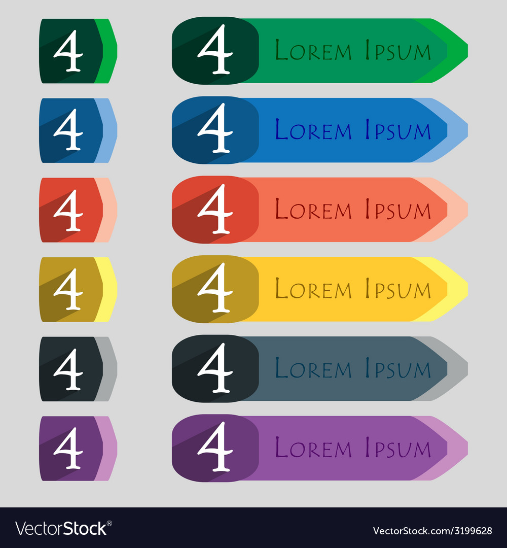 Number four icon sign set of coloured buttons vector   Price: 1 Credit (USD $1)