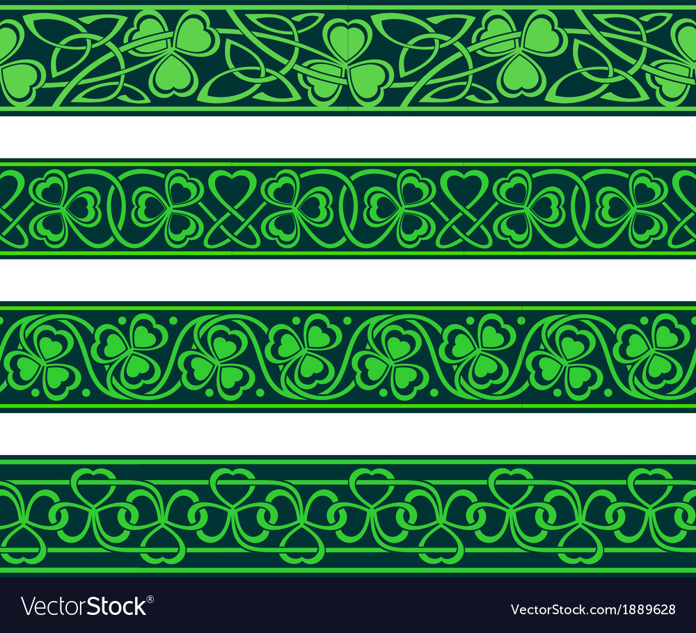 Seamless borders with shamrock vector | Price: 1 Credit (USD $1)