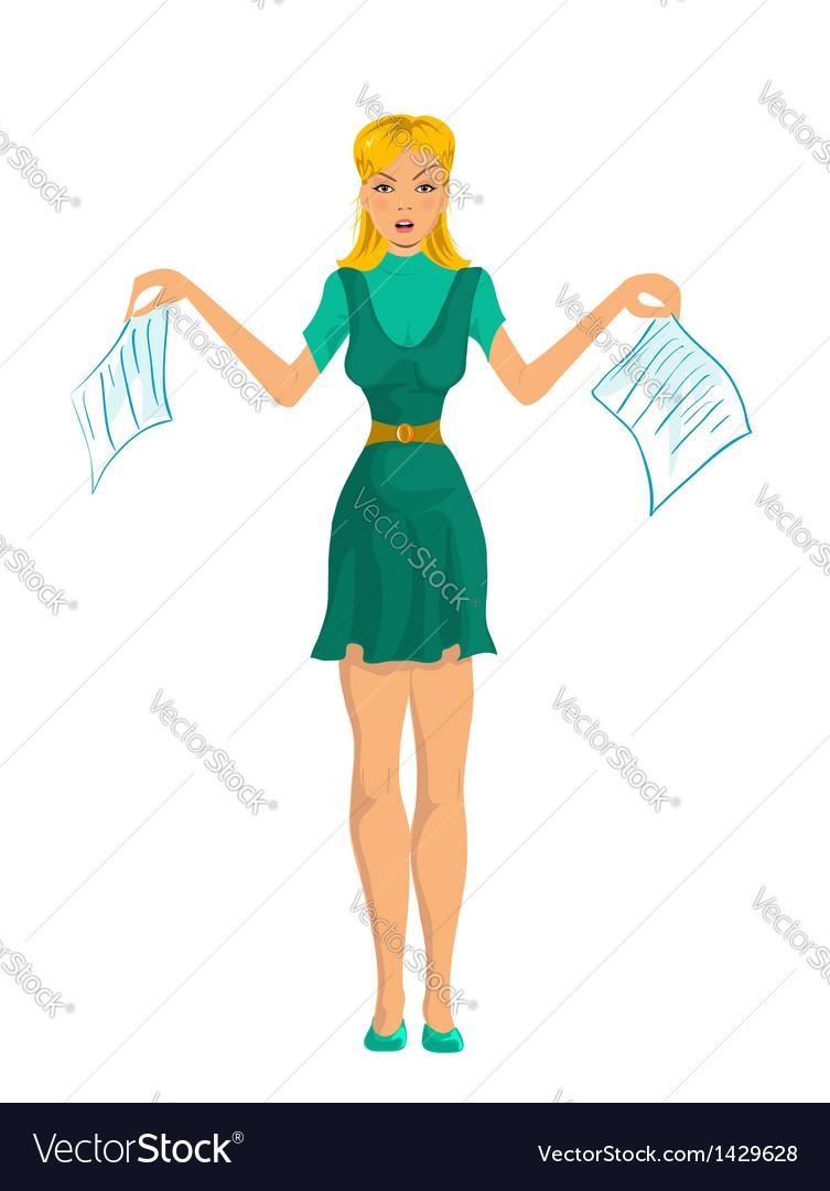 Secretary girl vector | Price: 1 Credit (USD $1)