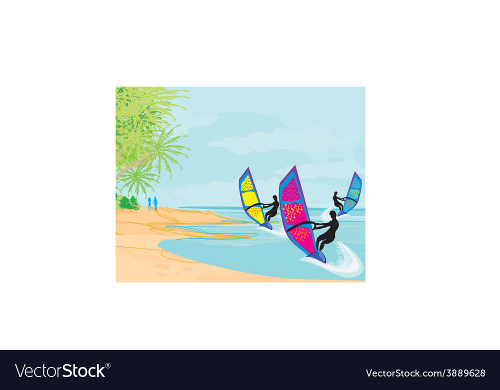 Surfers on a sunny day vector | Price: 1 Credit (USD $1)
