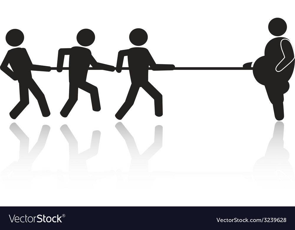 Tug-of-war businessmen stick figures vector | Price: 1 Credit (USD $1)