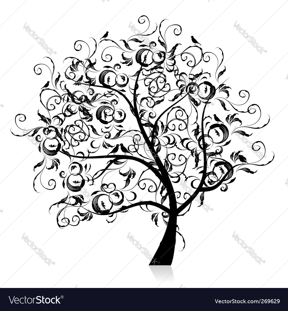 Art tree beautiful black silhouette vector | Price: 1 Credit (USD $1)