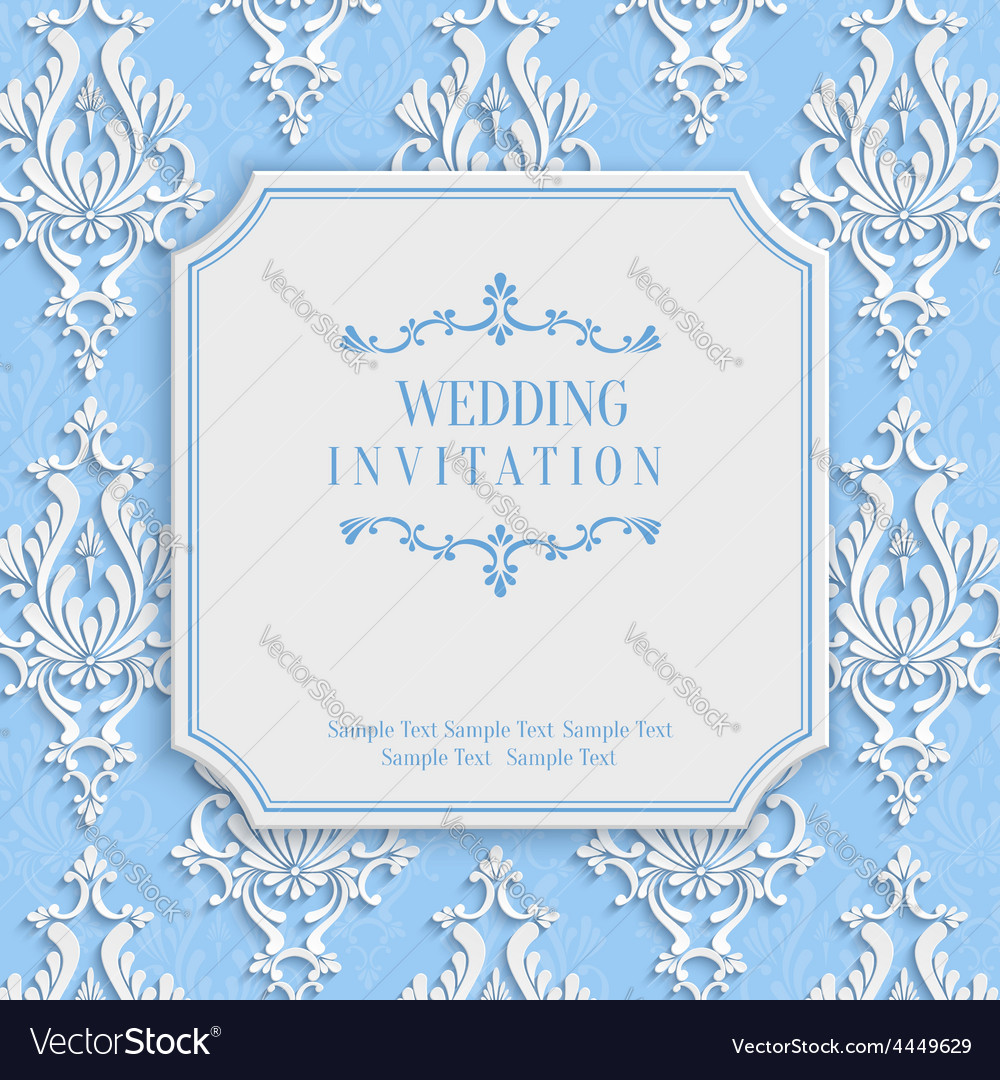 Blue vintage invitation card with 3d floral vector | Price: 1 Credit (USD $1)