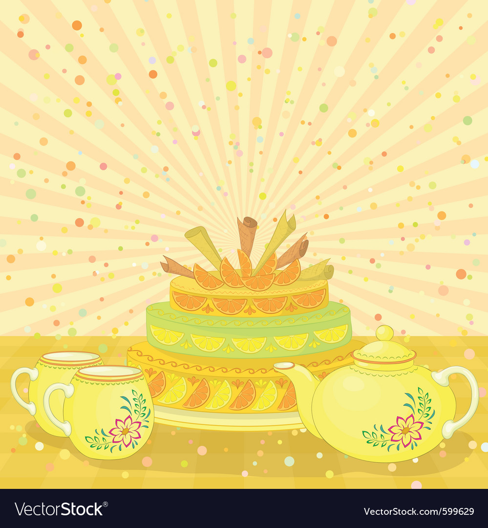 Cake with teapot and cups vector | Price: 1 Credit (USD $1)