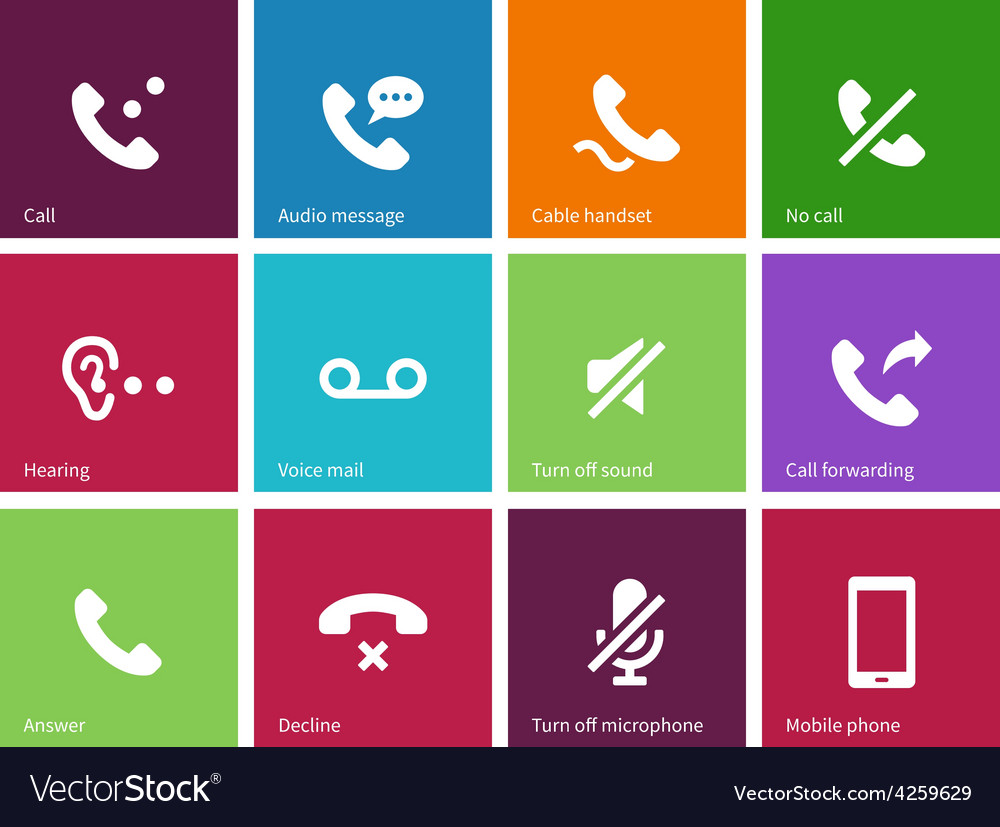Call and handset icons on color background vector | Price: 1 Credit (USD $1)