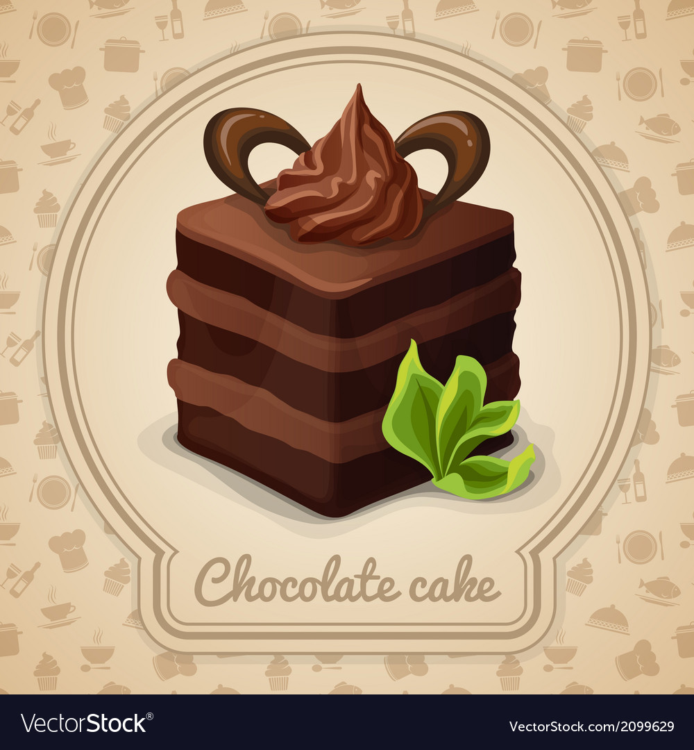 Chocolate cake poster vector | Price: 1 Credit (USD $1)