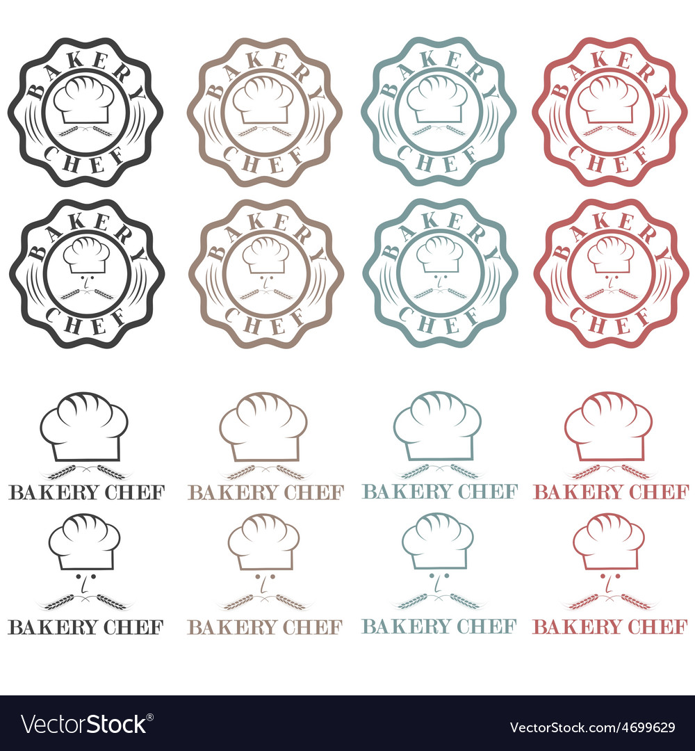 Collection of vintage retro bakery chef labels vector | Price: 1 Credit (USD $1)