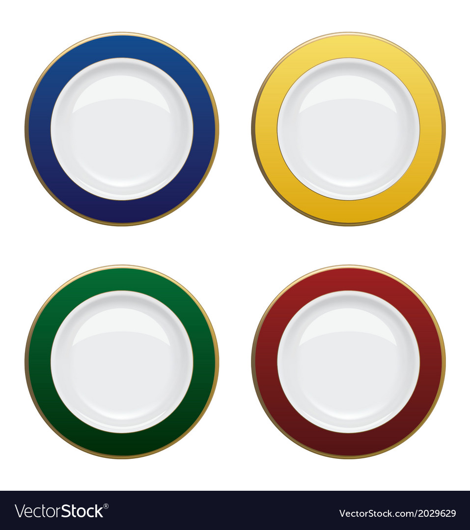 Colorful plate with gold rims on white background vector | Price: 1 Credit (USD $1)