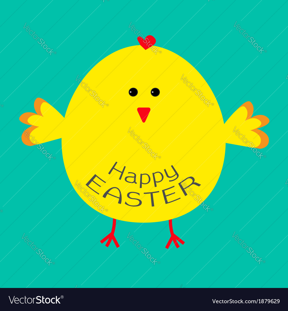 Cute easter chicken card vector | Price: 1 Credit (USD $1)