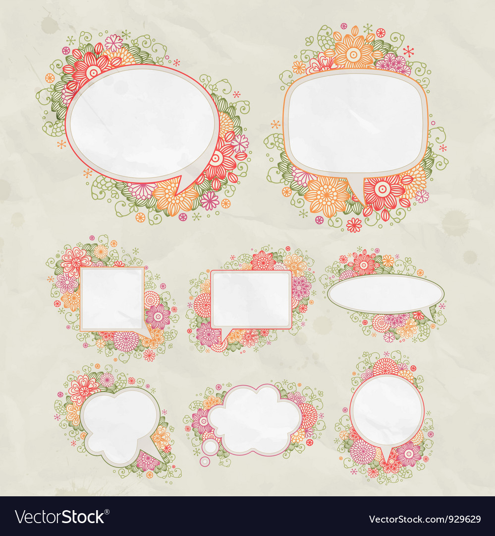 Drawn floral bubbles vector | Price: 1 Credit (USD $1)