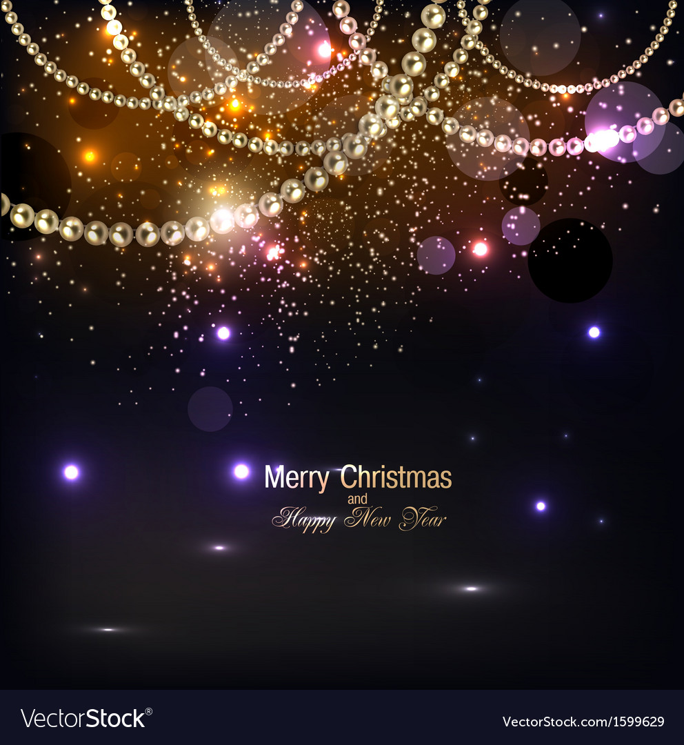 Elegant christmas background with golden garland vector | Price: 1 Credit (USD $1)
