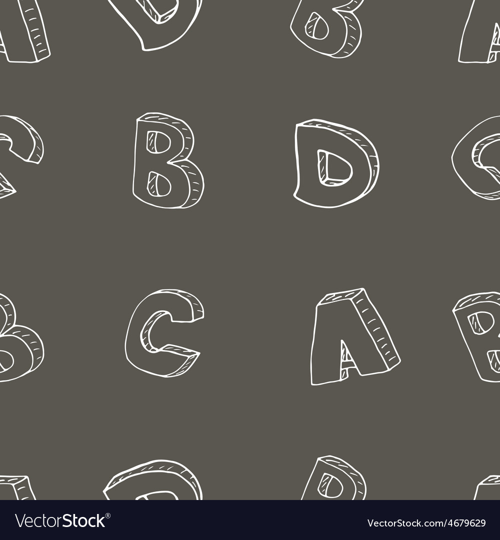 English alphabet seamless pattern sign sketch vector | Price: 1 Credit (USD $1)