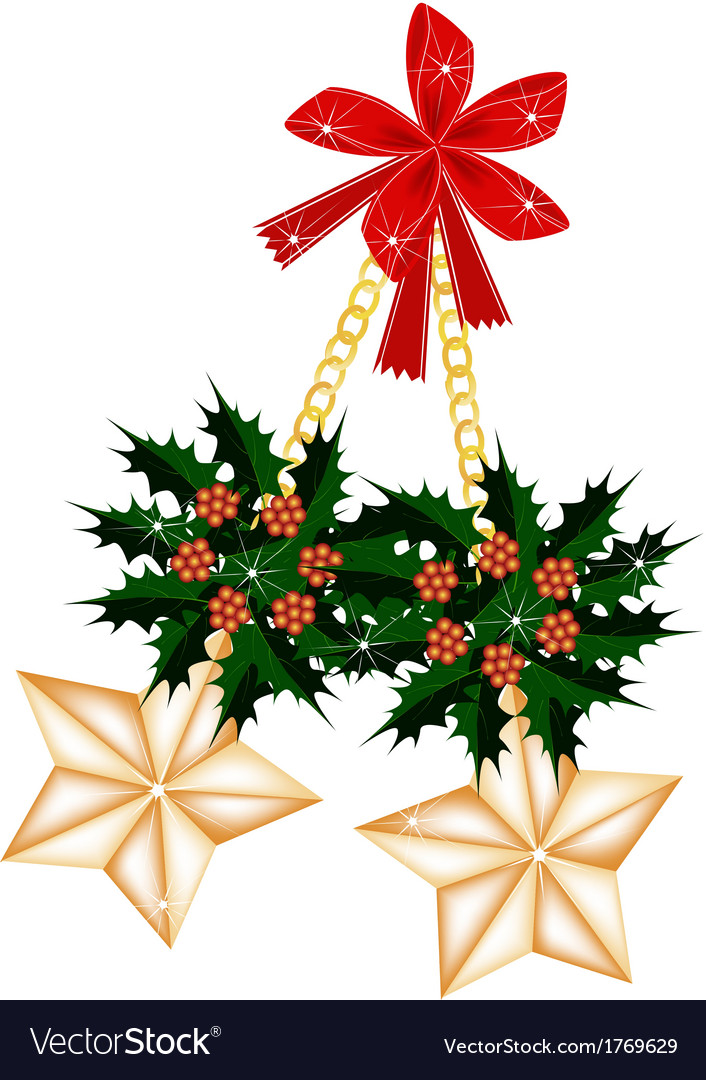 Golden stars and christmas holly with red bow vector | Price: 1 Credit (USD $1)