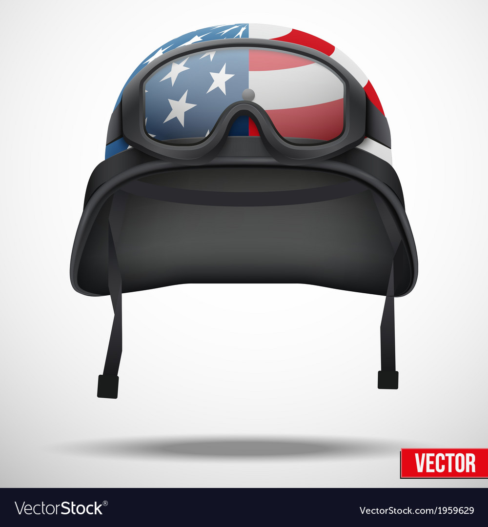 Military american helmet and goggles vector | Price: 1 Credit (USD $1)