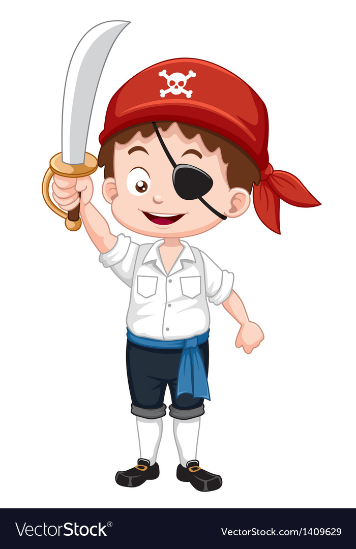 Pirate boy holding sword vector | Price: 1 Credit (USD $1)