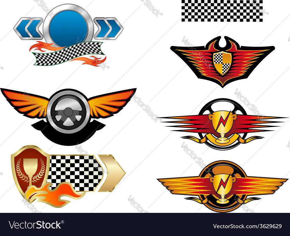Racing sports emblems and symbols vector | Price: 1 Credit (USD $1)