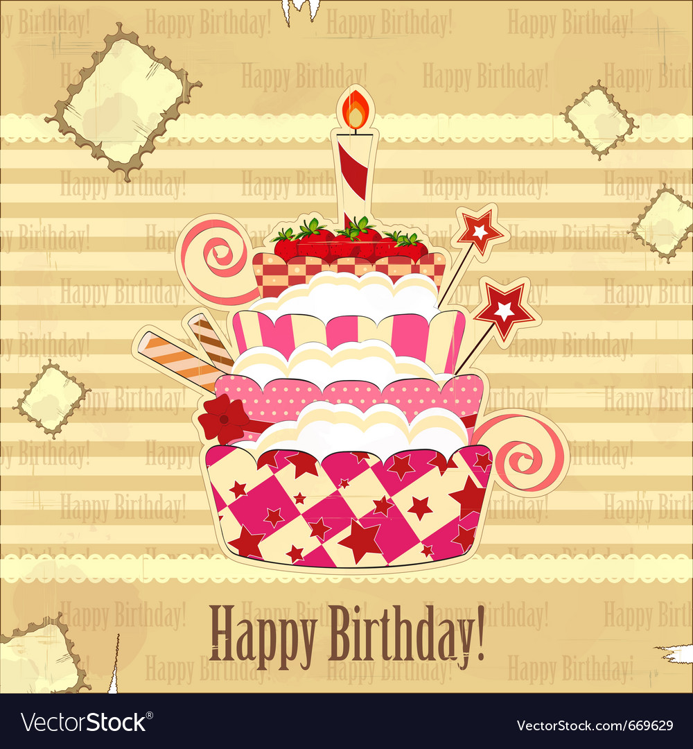 Strawberry birthday cake vector | Price: 1 Credit (USD $1)