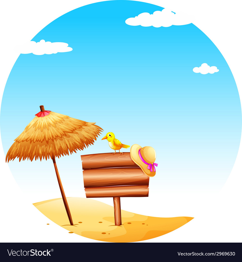 An empty signboard at the beach vector | Price: 1 Credit (USD $1)