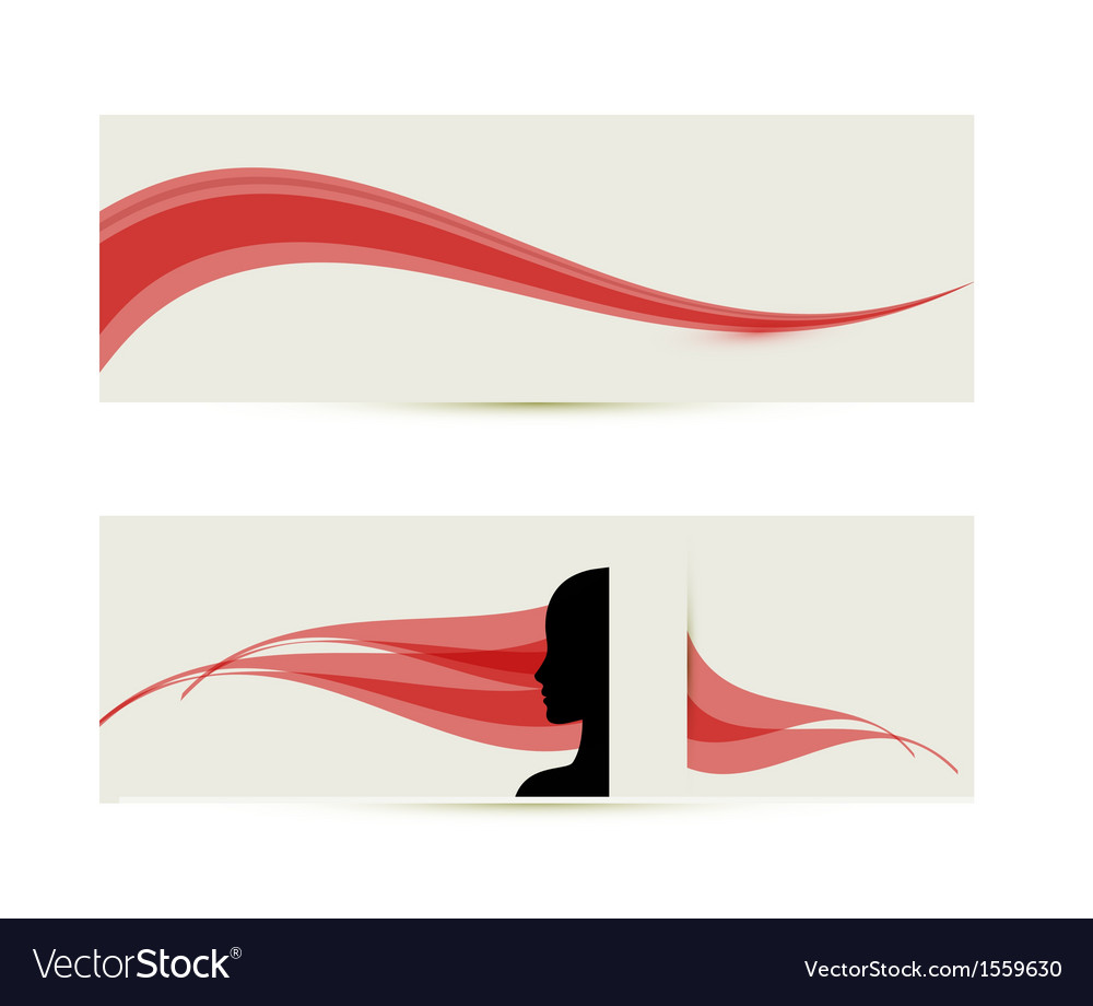 Banner templates with female profile silhouette vector | Price: 1 Credit (USD $1)