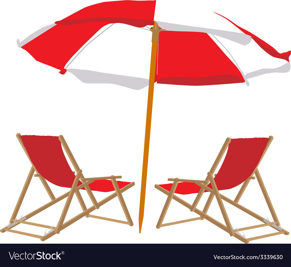 Beach chair and umbrella vector | Price: 1 Credit (USD $1)