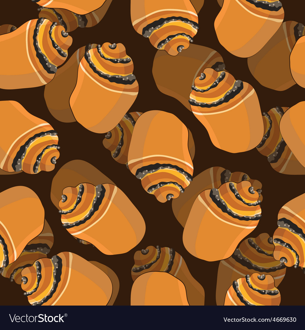 Bun with poppy seamless pattern grocery vector | Price: 1 Credit (USD $1)