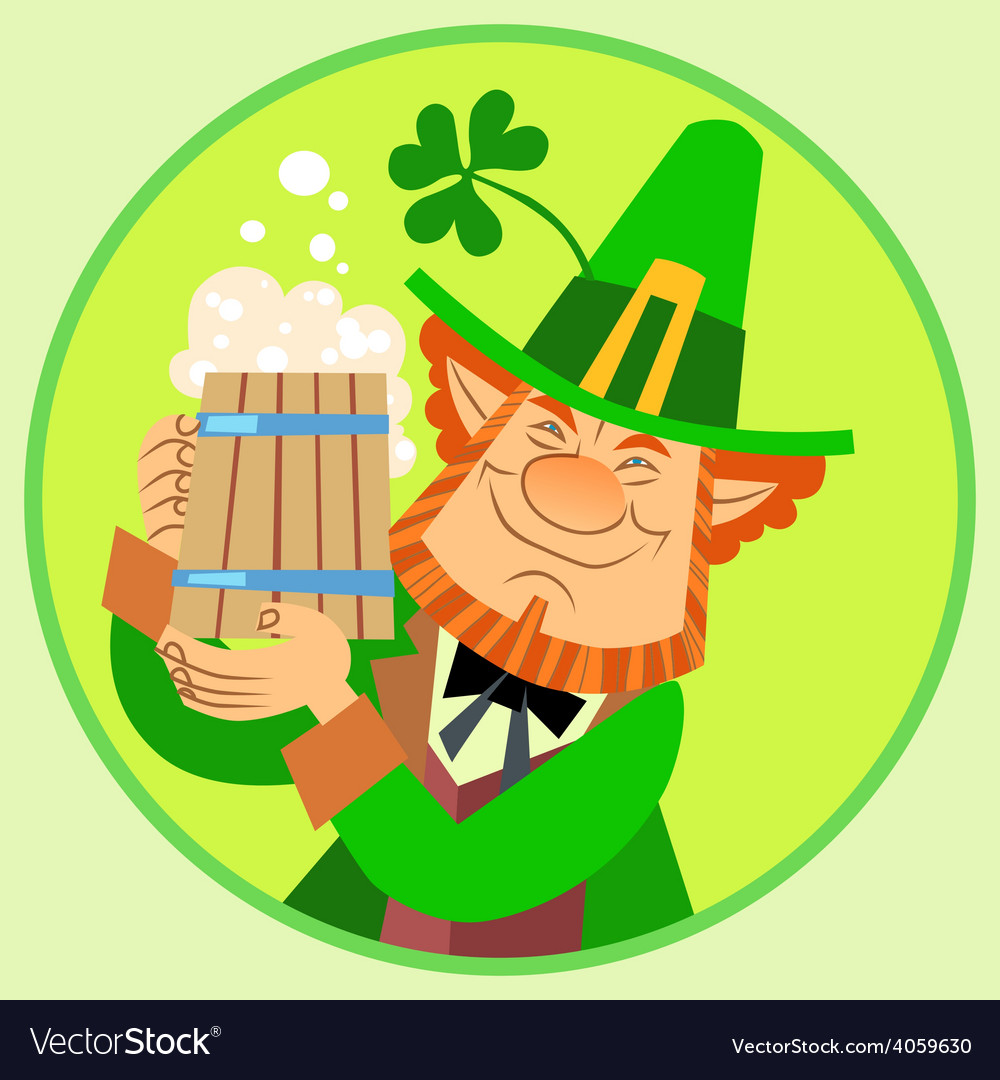 Day patrick green leprechaun with beer and vector | Price: 1 Credit (USD $1)