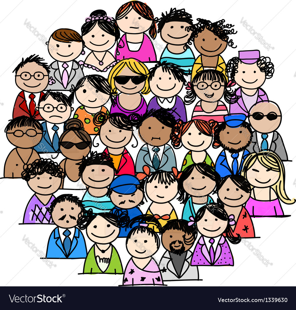 Group of people for your design vector | Price: 1 Credit (USD $1)