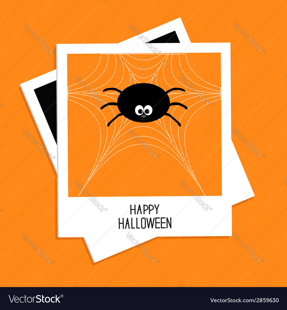 Instant photo with spider on the web hallowen vector | Price: 1 Credit (USD $1)