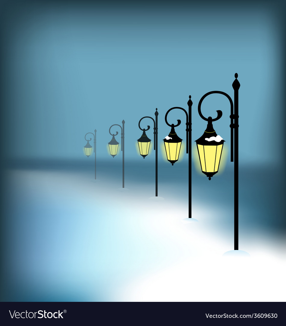 Lanterns stand in snow on blue vector   Price: 1 Credit (USD $1)