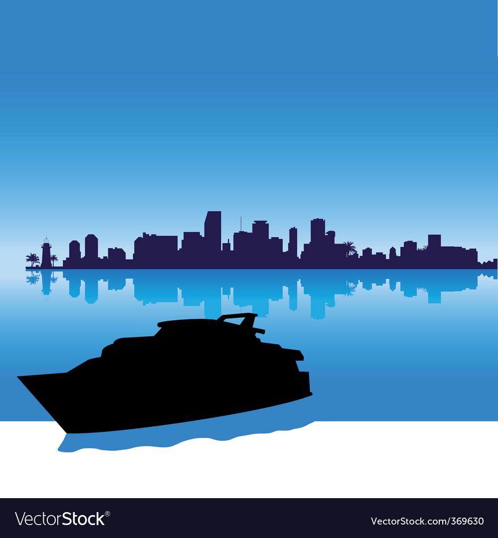 Miami skyline silhouette vector | Price: 1 Credit (USD $1)