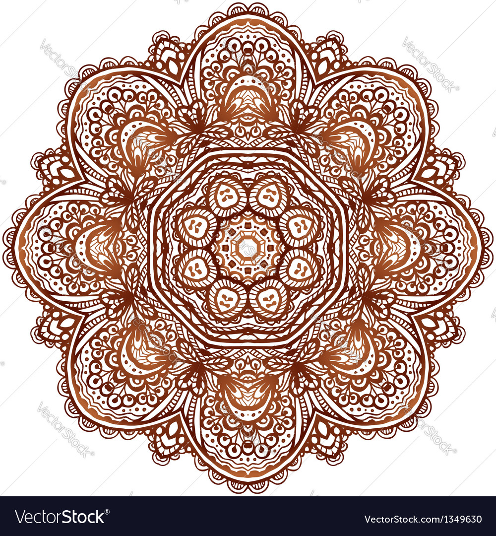 Ornate ethnic henna colors mandala vector | Price: 1 Credit (USD $1)