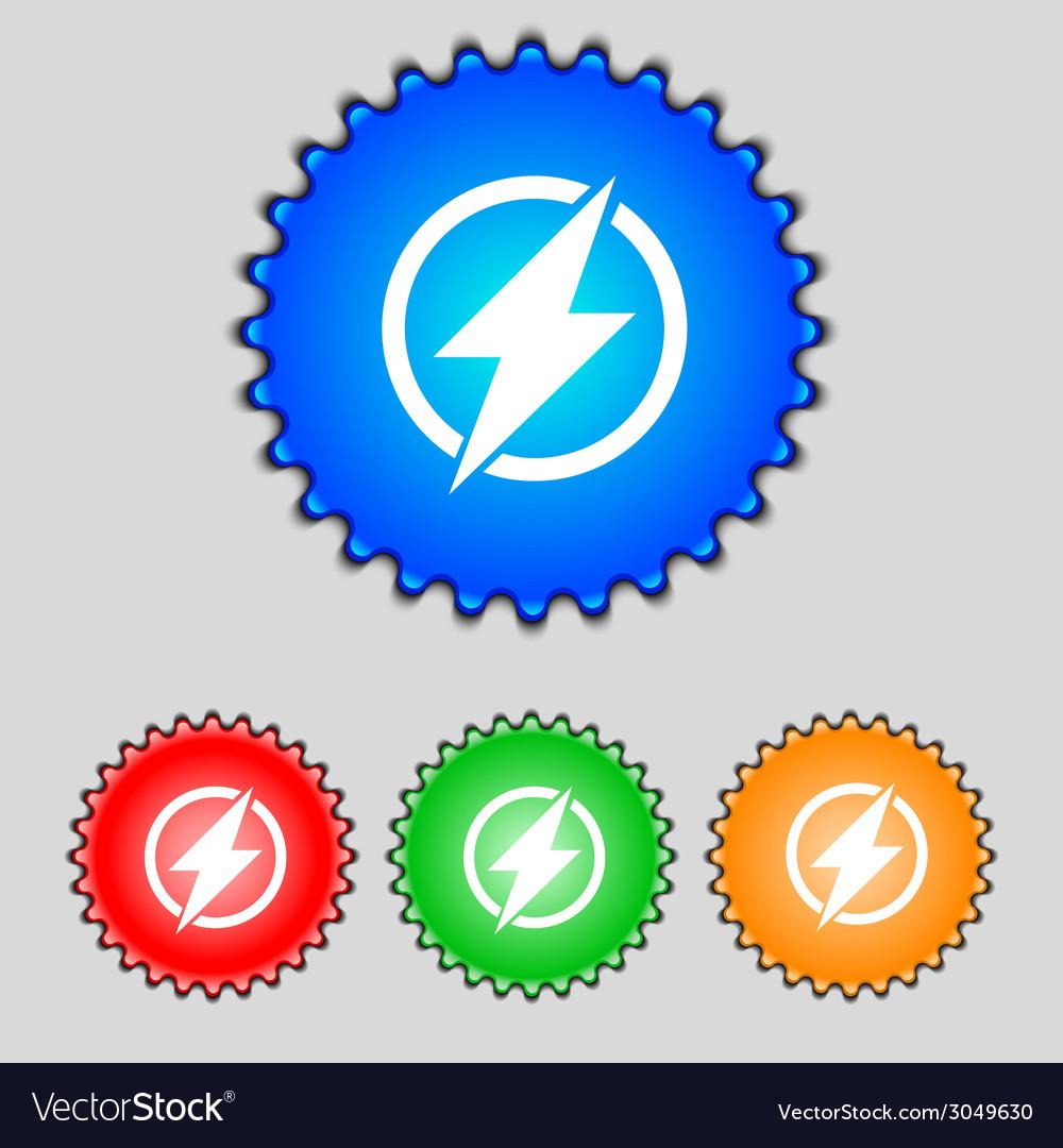 Photo flash sign icon lightning symbol set of vector | Price: 1 Credit (USD $1)