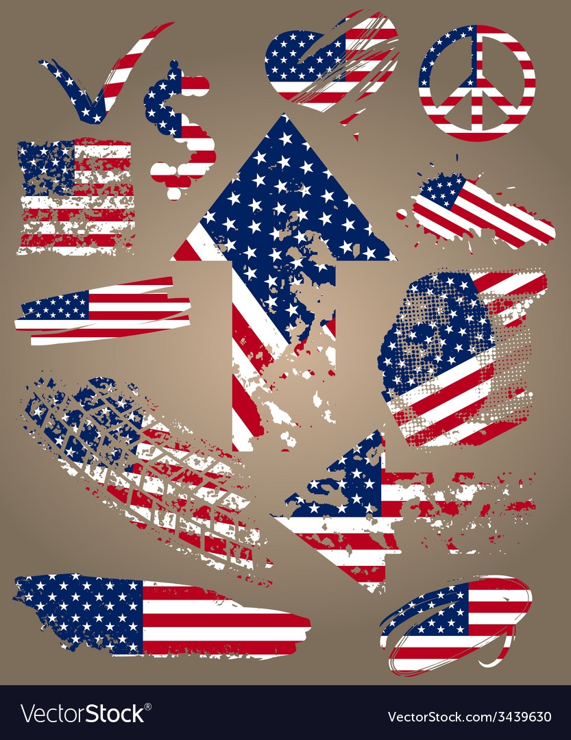Set of elements with flag usa vector   Price: 1 Credit (USD $1)