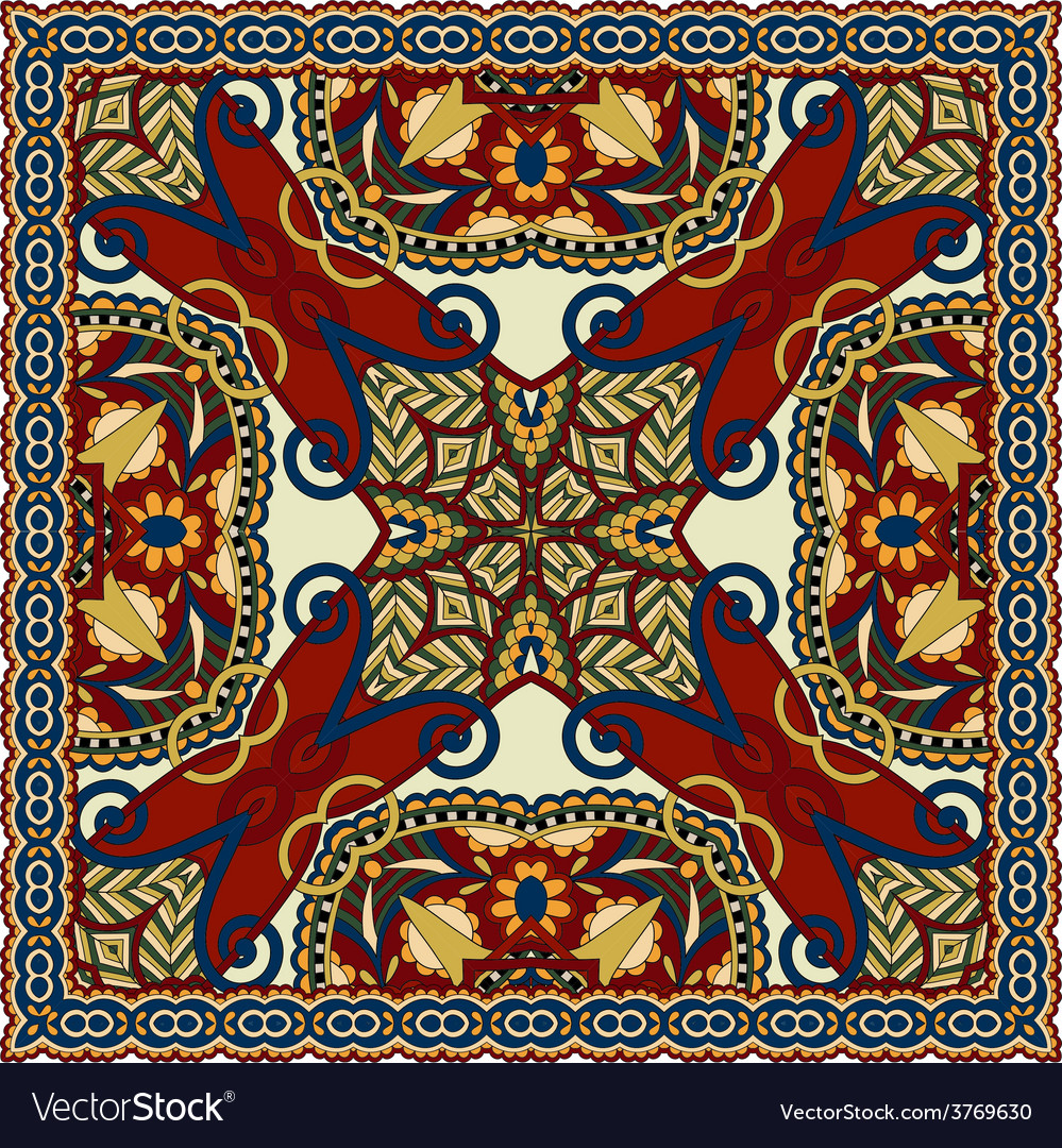 Silk neck scarf or kerchief square pattern vector   Price: 1 Credit (USD $1)