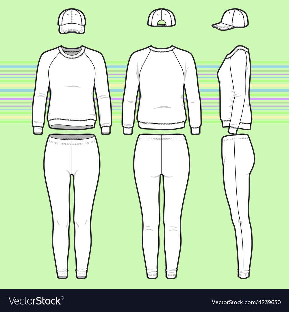 Sweatshirt cap and leggins set vector | Price: 1 Credit (USD $1)