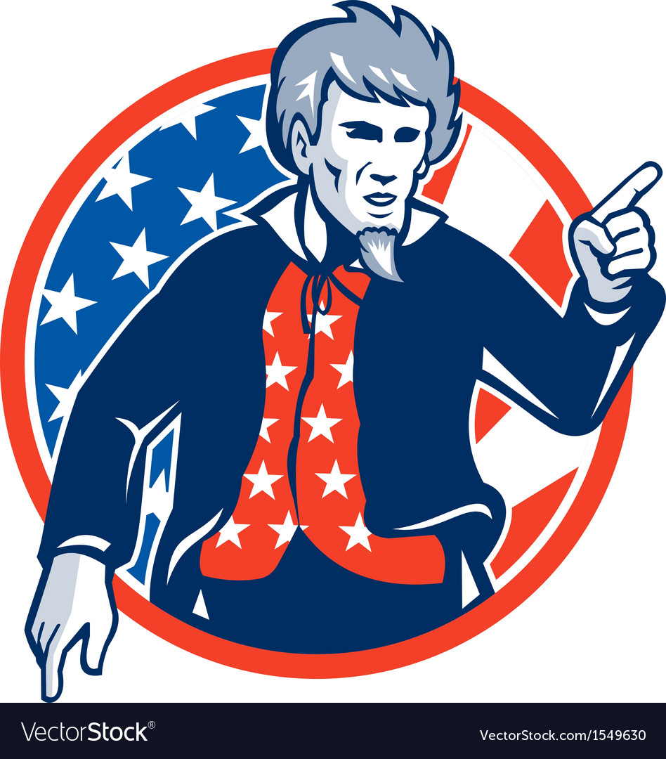 Uncle sam american pointing finger flag retro vector | Price: 1 Credit (USD $1)