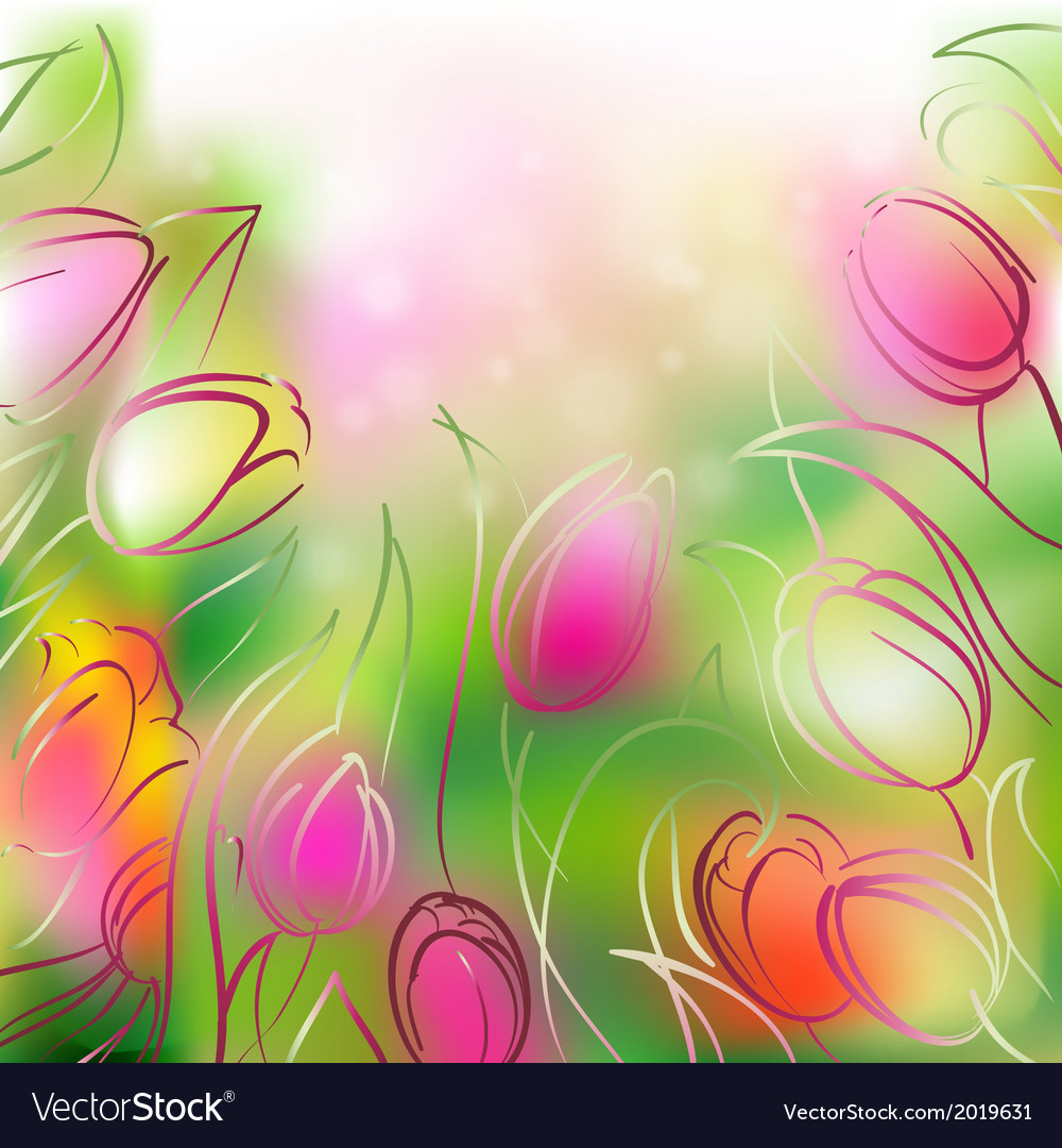 Background tulips vector | Price: 1 Credit (USD $1)