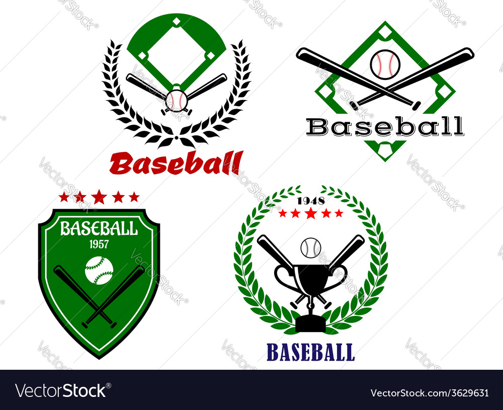 Baseball emblems with crossed bats vector | Price: 1 Credit (USD $1)