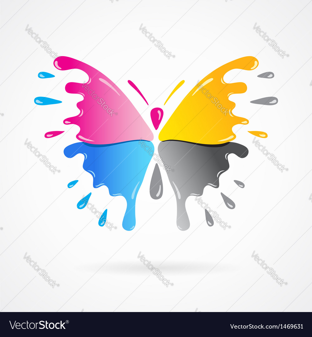 Butterfly colored cmyk print splash vector | Price: 1 Credit (USD $1)