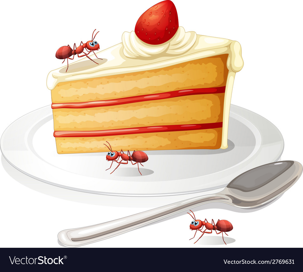 Cake and ants vector | Price: 1 Credit (USD $1)
