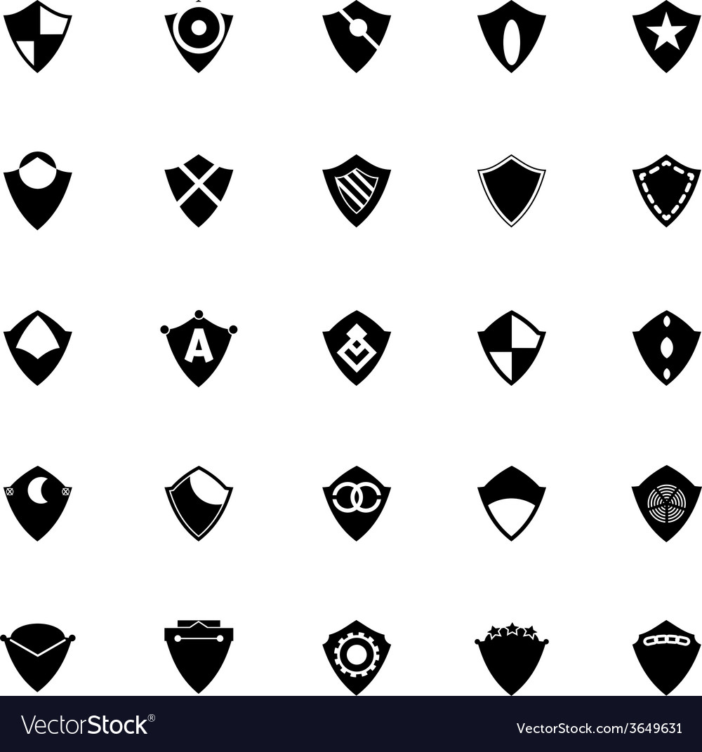 Design shield icons on white background vector | Price: 1 Credit (USD $1)